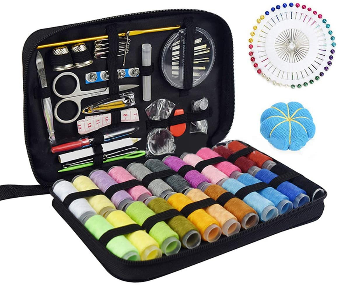 SANON Sewing Kit, 126pcs/set Portable Travel Sewing Kit Needle and Thread Kit for DIY Beginners Emergency Use Perfect Gift for Women