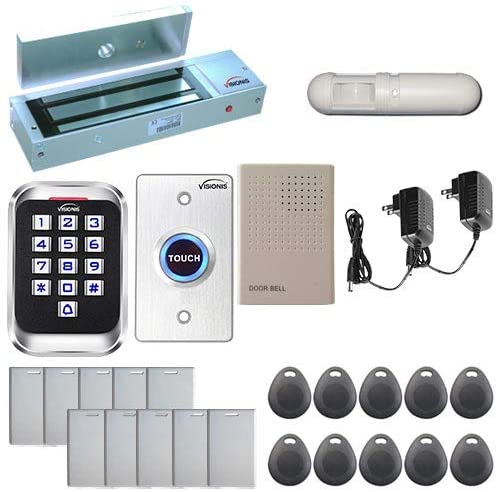 Visionis FPC-5622 One Door Access Control Outswinging Door 1200lbs Maglock with VIS-3004 Indoor Outdoor Rated IP68 Keypad/Reader Standalone EM Compatible No Software 2000 Users and PIR Kit