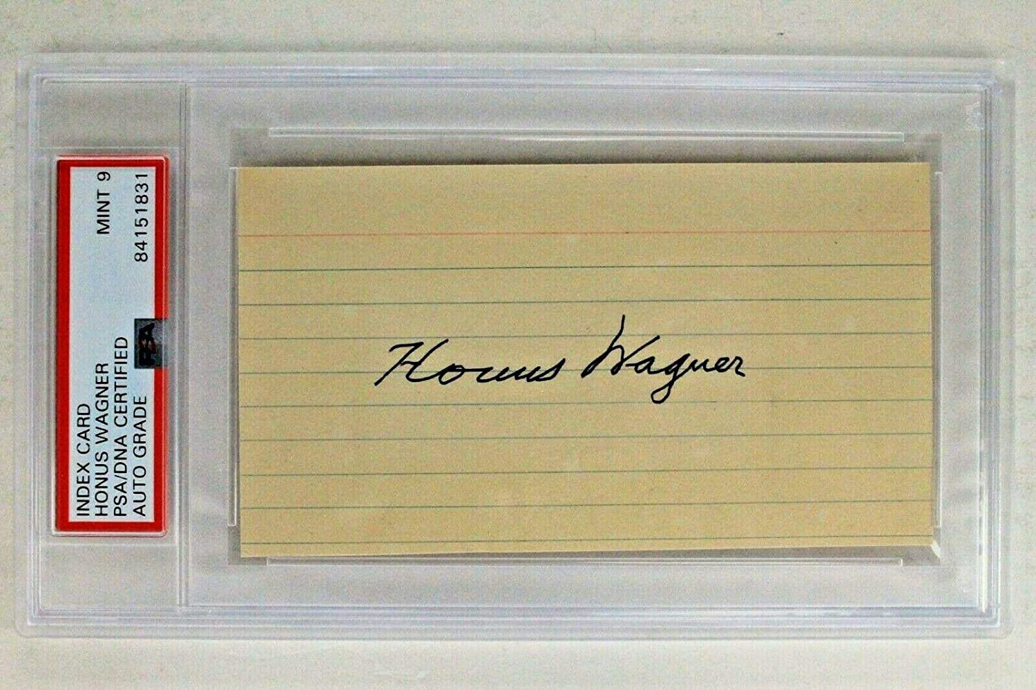 Honus Wagner (d.1955) HOF Autographed Signed 3x5 Index Card Pirates JSA PSA 9 - MLB Cut Signatures