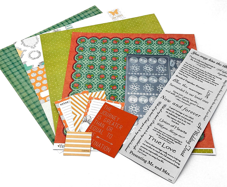 Coral Floral Wedding - Scrapbook Kit | Wedding Scrapbook Stickers | 12 x 12 Designer Cardstock Paper | Wedding Scrapbooking, Collection Kit - 87 Pieces!
