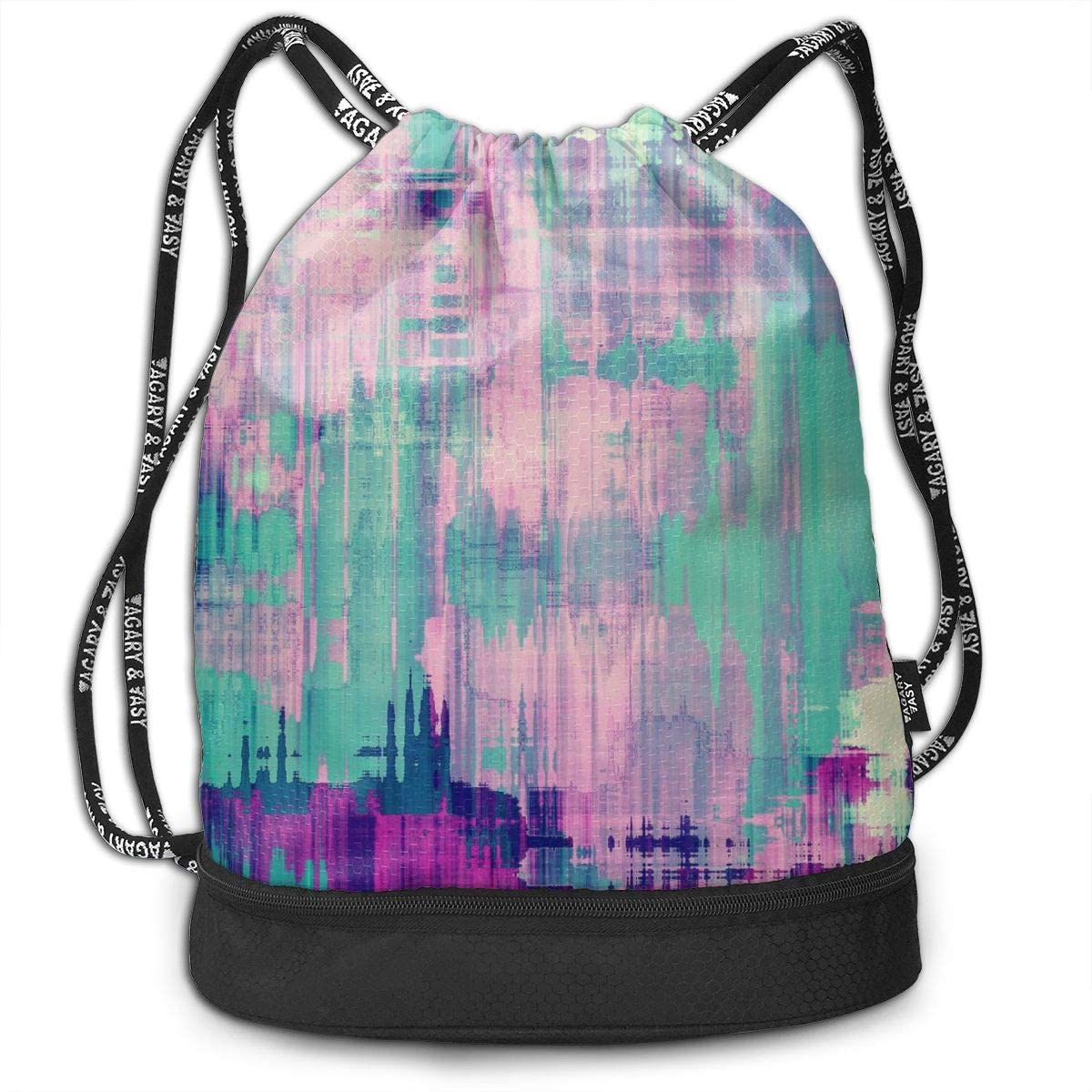 Bundle Backpacks Grunge Colorful Background Gym Sack Drawstring Bags Casual Daypack Yoga Bag School Training Pouch