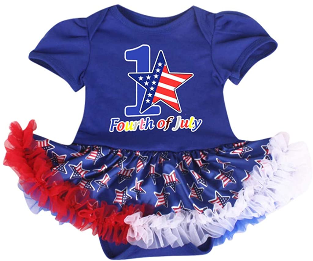 ZEFOTIM Baby Girls Dress,0-18M Newborn Infant Baby Kids Stars Striped 4th of July Romper Tulle Dress Outfits