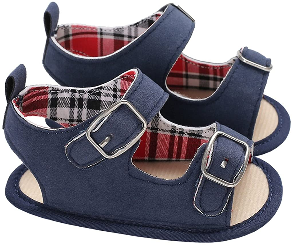 lakiolins Baby Girls Double Buckle Straps Open Toe Sandals Anti-Slip Summer Beach Shoes