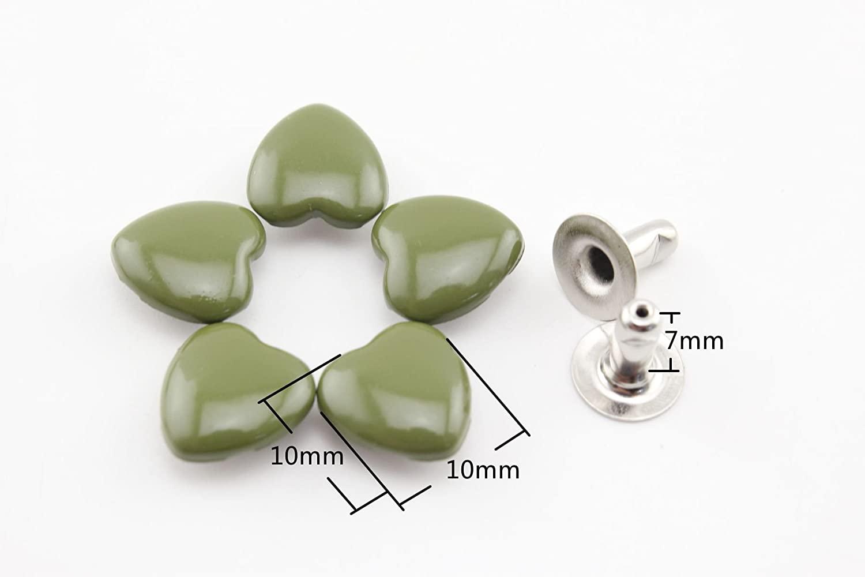 Olive Green 10mm x 10mm Heart Shape Riveted,Purse Rivets Spike Rivet Studs Spots Leather Rivet for Bag Making, Clothing, Shoes. 60 Sets per lot M61F