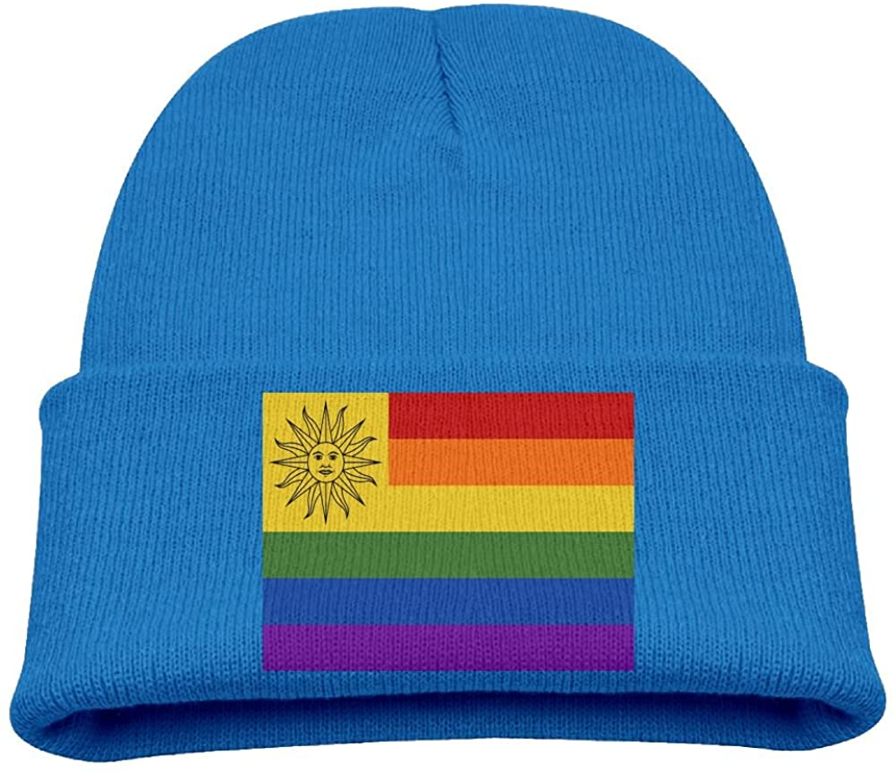 ZWZ Rainbow Flag Of Uruguay Kid's Hats Winter Funny Soft Knit Beanie Cap Children Unisex