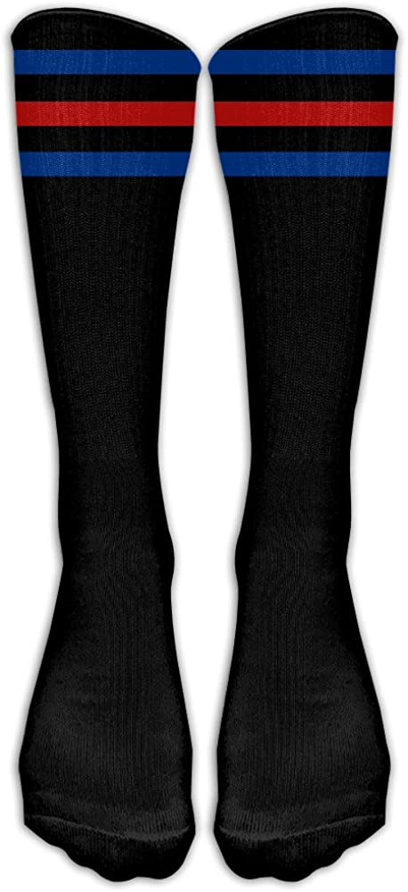 Yoigng Crew Socks Blue Red Stripe Mens Womens Thigh High Tube Dresses Liner Cosplay Socks
