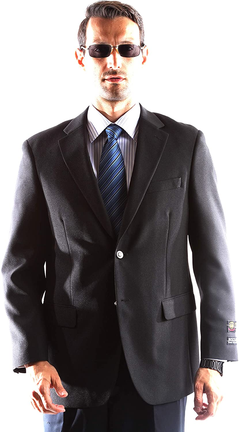 Men's Single Breasted Two Button Black Blazer Size Regular 50