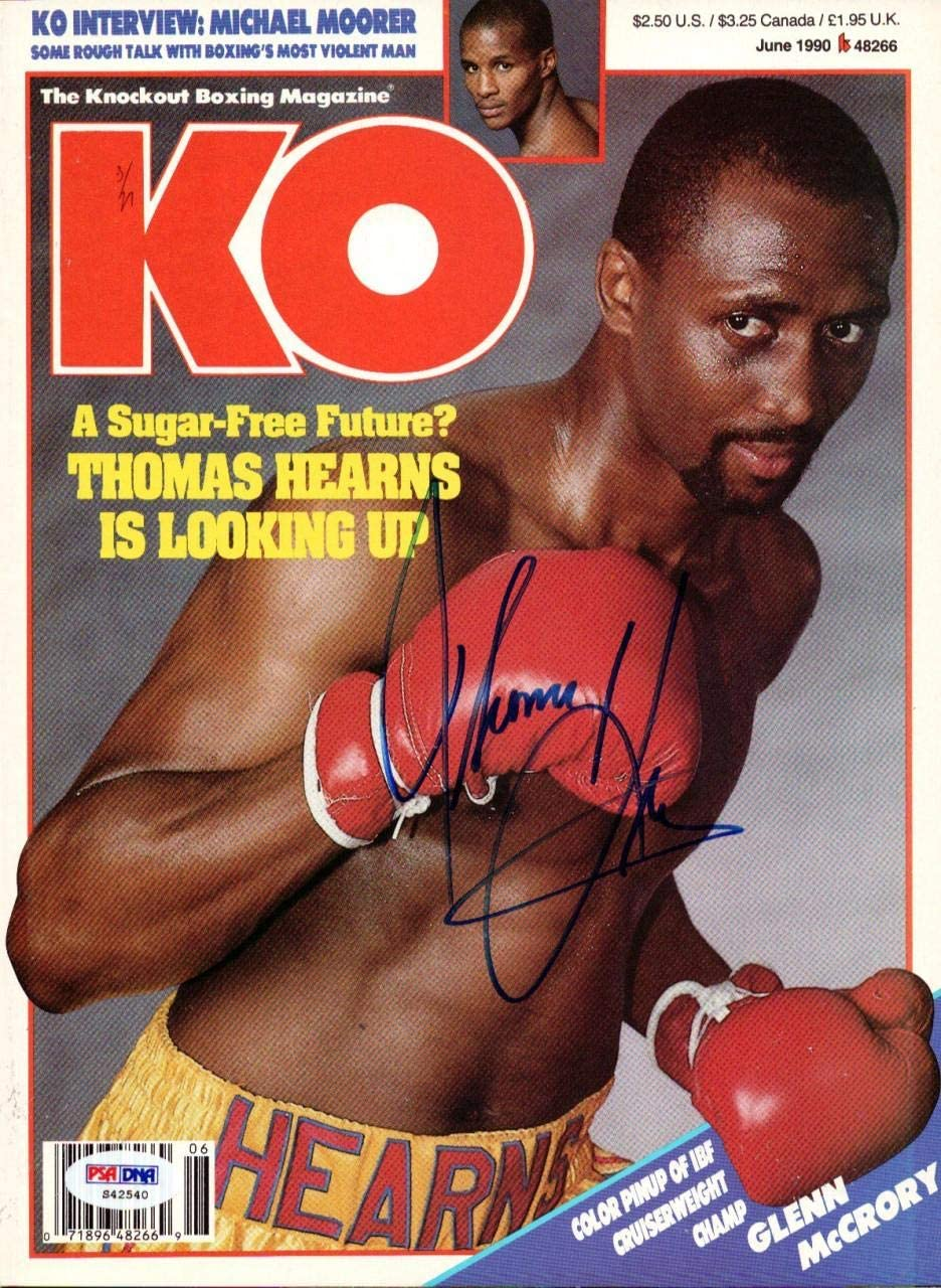 ThomasHit Man Hearns Autographed KO Boxing Magazine Cover PSA/DNA #S42540 - Autographed Boxing Magazines