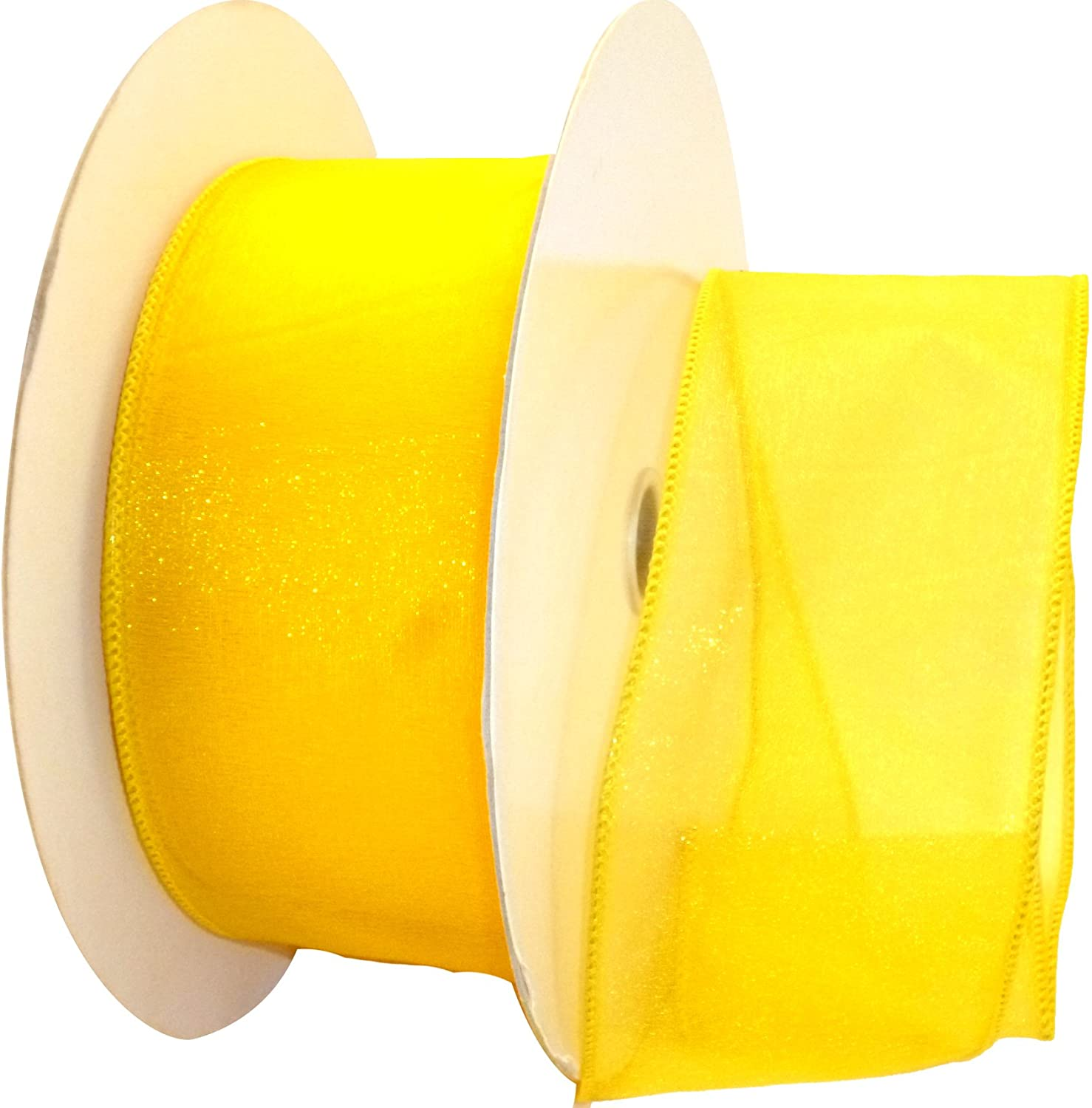 Reliant Ribbon 99908W-079-40K Sheer Lovely Value Wired Edge Ribbon, 2-1/2 Inch X 50 Yards, Yellow
