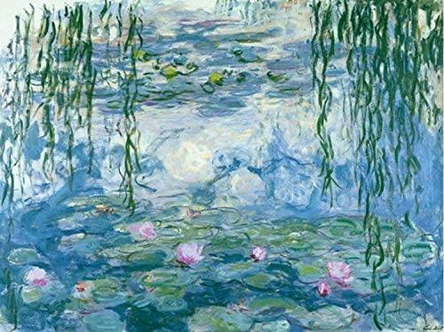 Zimal Claude Monet Water Lilies Embroidery Mosaic Pattern Wall Art Diamond Painting for Living Room Home Wall Art 11.8 x 15.8 Inch