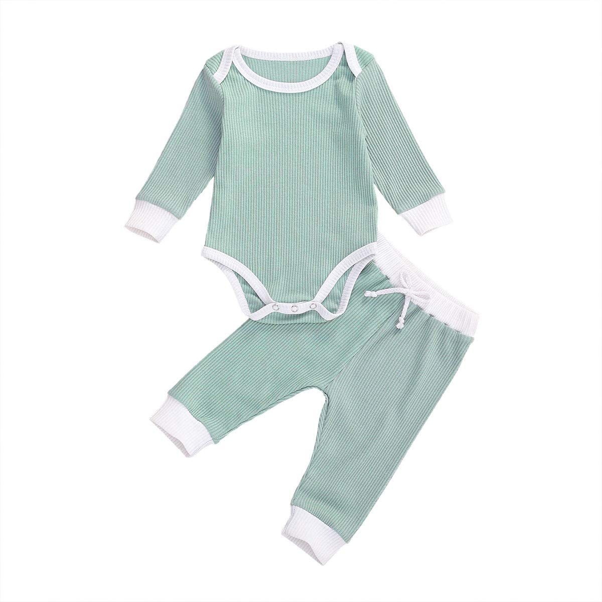Newbron Baby Boy Girl Casual Clothes Long Sleeve Solid Knitted Tops Romper + Ribbed Drawstring Pants 2Pcs Outfits