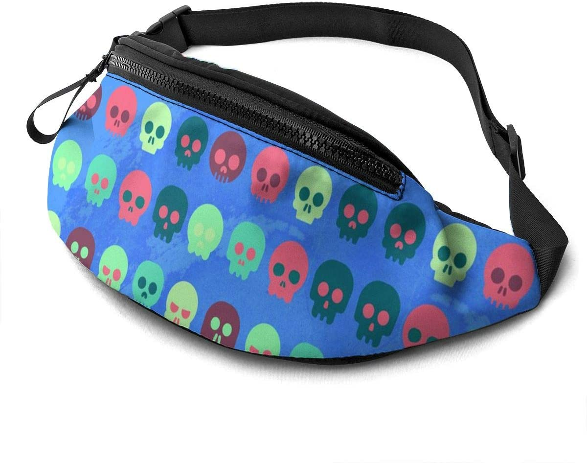 Colorful skull pattern Fanny Pack for Men Women Waist Pack Bag with Headphone Jack and Zipper Pockets Adjustable Straps
