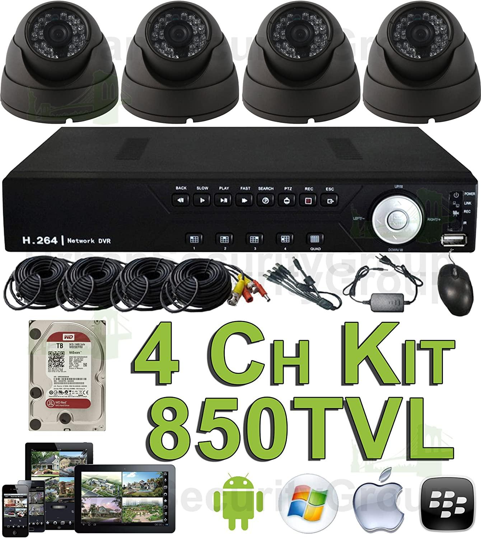 USG 850TVL 4 Channel CCTV Kit: 1x 4Ch DVR + 4X Dome Cameras + 1x 1TB HDD + 4X 65' BNC/Power Cables + 1x Power Supply + 1x Splitter Complete CCTV Video Surveillance