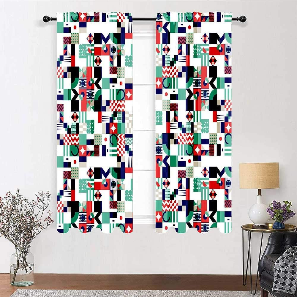 carmaxs Patio Door Curtains Mid Century for Living/Bedroom Room Patio Door Rich Contemporary Mosaic of Funky and Pastel Shapes 2 Panels 84
