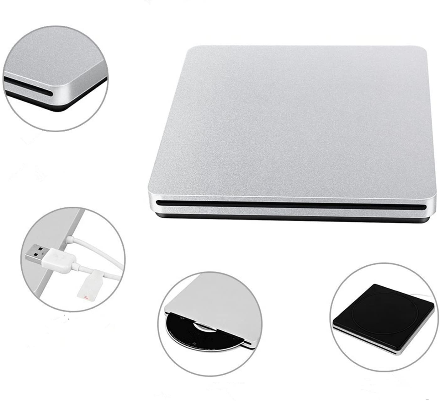 USB 2.0 Portable External DVD CD Drive Burner/Writer high Speed Transfer with Super Compatibility for Laptops PC/Apple MacBook Pro (Silver)
