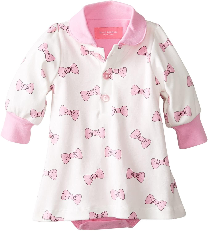 Isaac Mizrahi Baby-Girls Newborn Bow Dress with Built-In Diaper Bottom