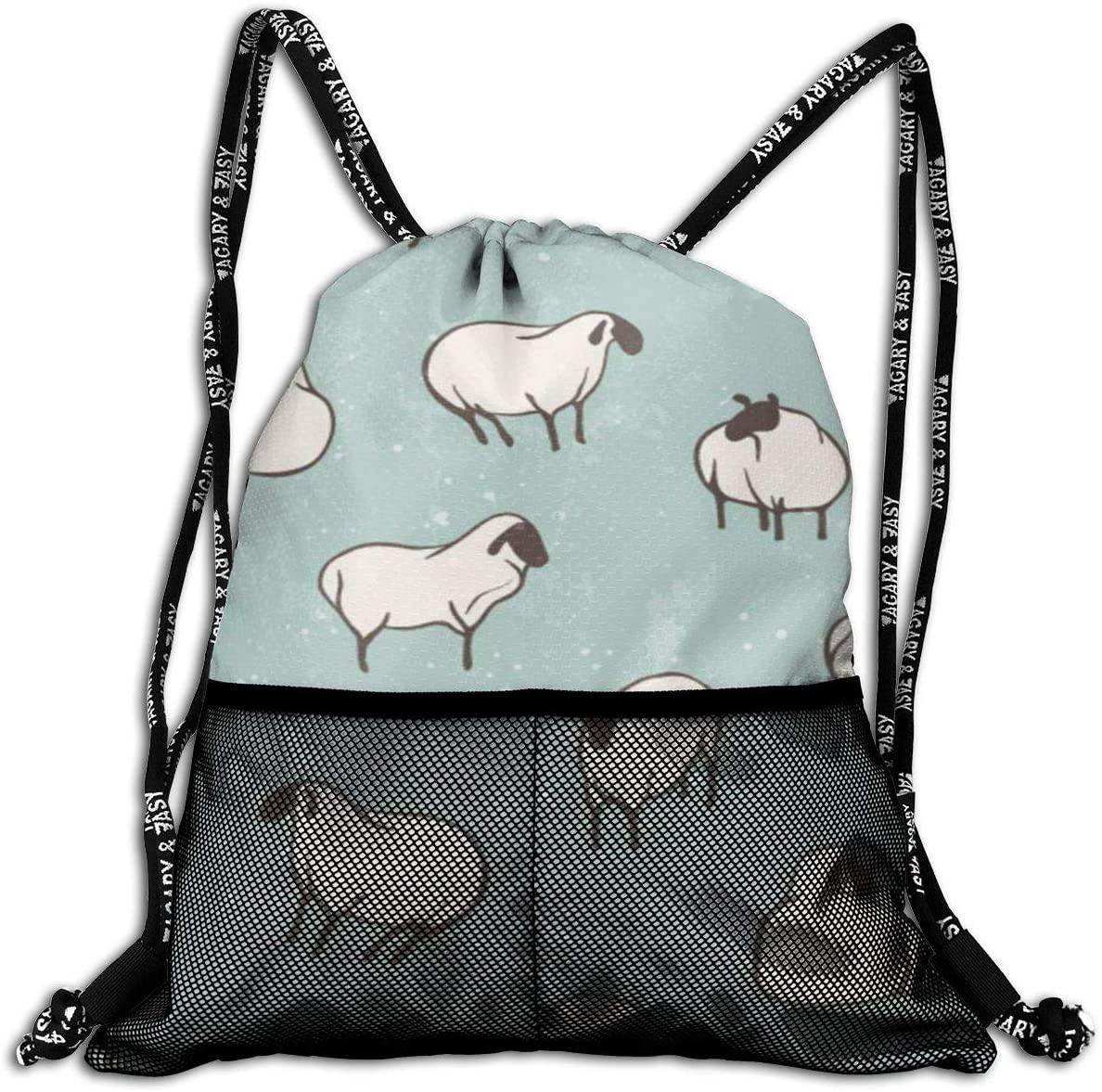Fashion Drawstring Bag-Goat Sheep Print Print Gym Backpack Sport Storage Bag Bundle Backpack for Adult Kids