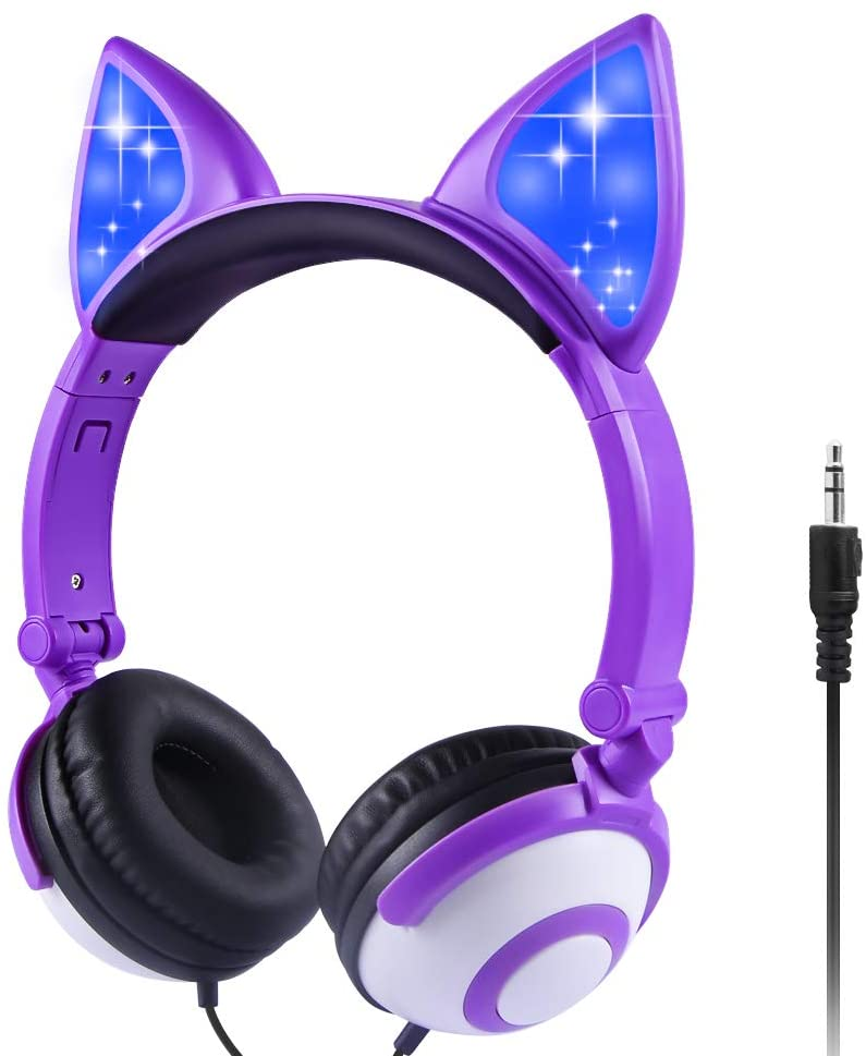 Sunvito Kids Headphones for Girl, Glowing Kids Headset with 3.5mm Jack, 85dB Volume Control for Hearing Protection, Cat Ear Headphones for School Birthday Gifts
