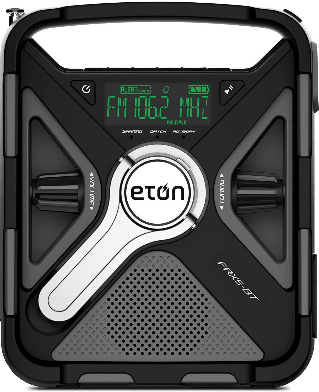 Eton Emergency Weather Radio Bluetooth, 2000 mAh Rechargeable Battery, USB, Solar Panel, Charging, LED Flashlight FRX5BT (Renewed)