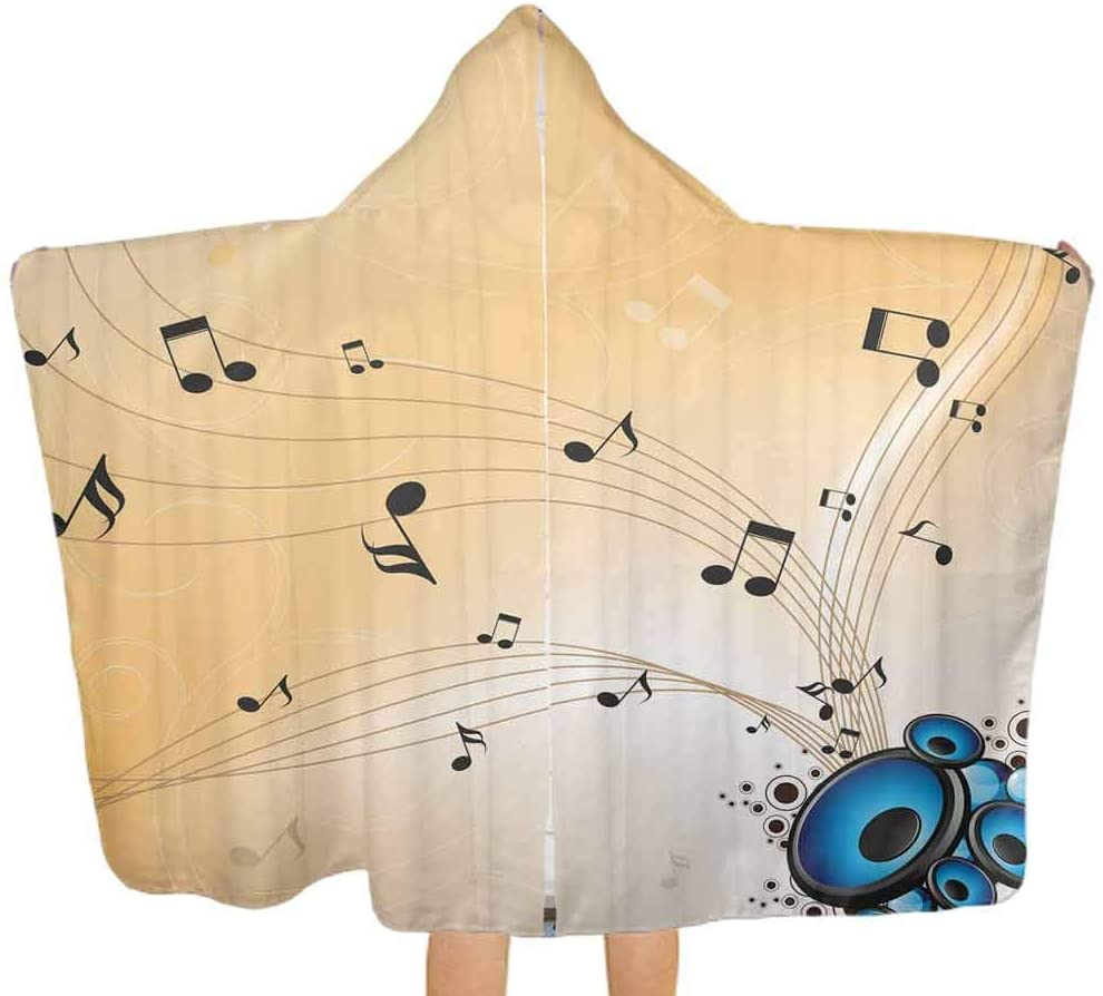 Baby Hooded Towel Abstract Melodies Notes Soft Hooded Bath Towels Thick, and Exceptionally Large, 51.5x31.8 Inch