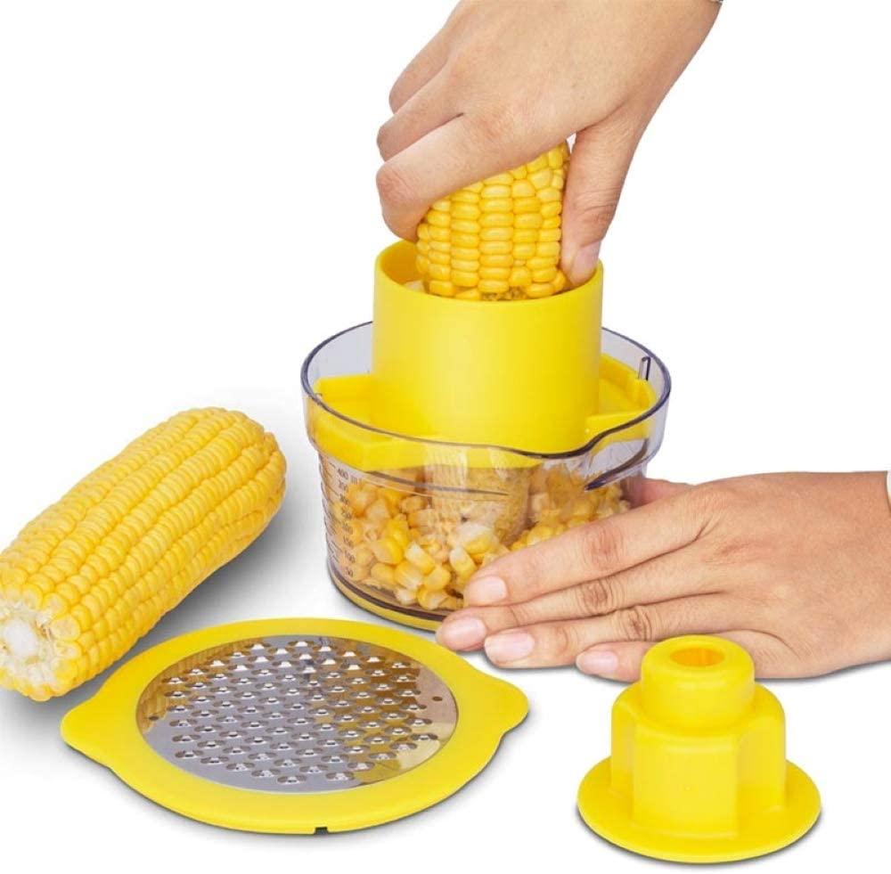 Corn Remover Stripper Ginger Sharpener Garlic Plane Cutter Corn Stripper Peeler with Measuring Cup Kitchen Tools
