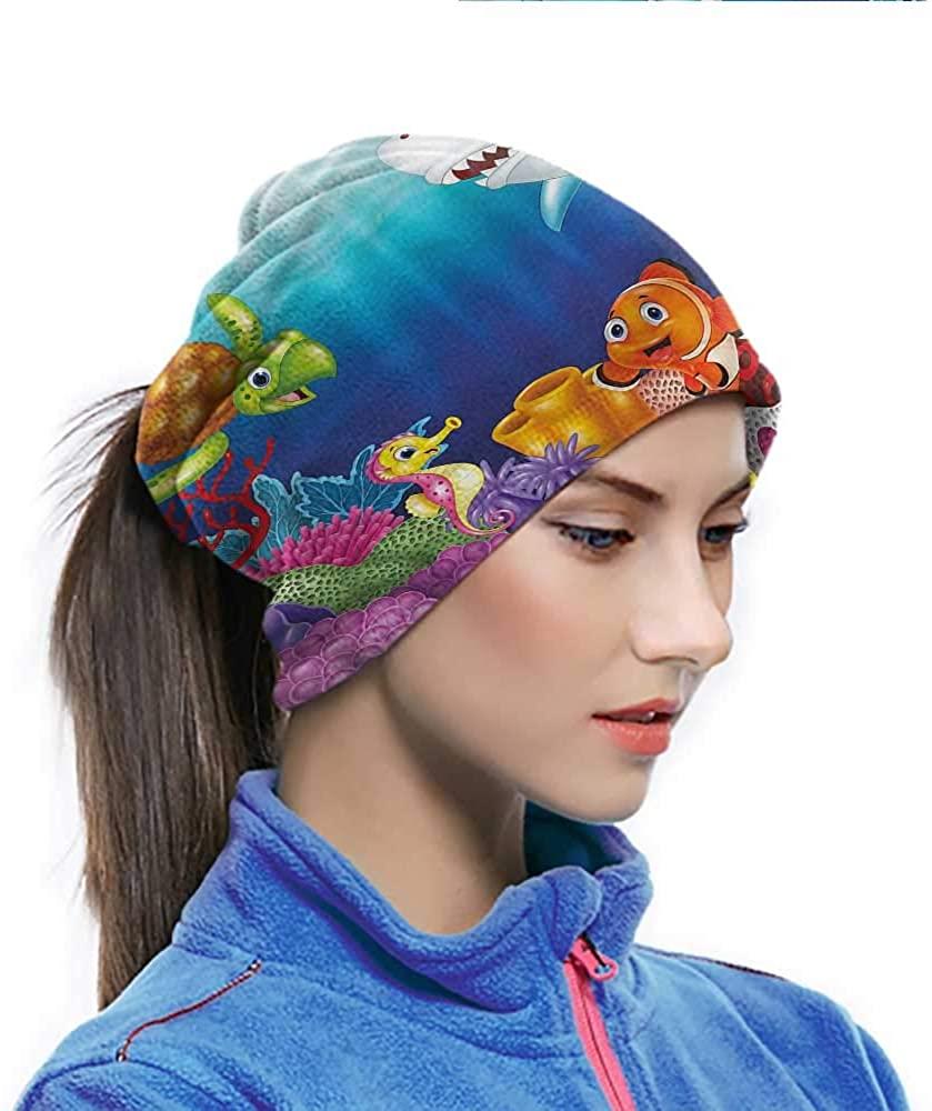 Headwrap Aquarium, Exotic Happy Ocean World Multifunctional Headwear Neck Gaiter Helps Reduce Allergies 10 x 11.6 Inch