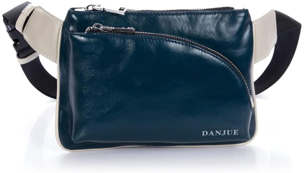 DANJUE Men's Waist Layer Leather Sports Pouch One Shoulder Bag Men's Casual Bag D90067-3A blue
