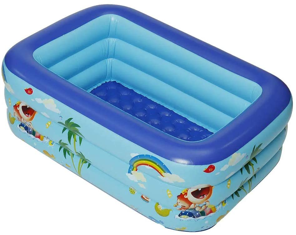 SIN vimklo Home & Garden Kids' Pool - Kid's Summer Inflatable Swimming Pool Outdoor Children Bath Pool Kids Paddling Bathtub (59.06x41.34x19.69inch, Blue)