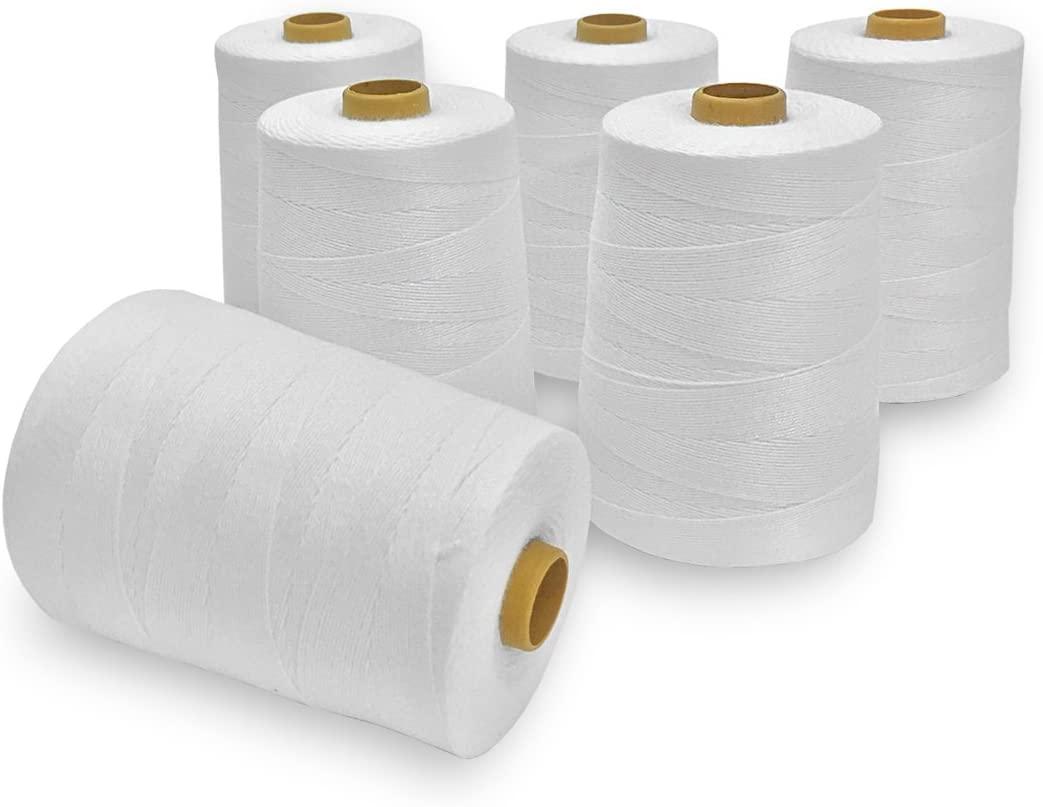 JORESTECH Heavy Duty Spool Sewing Thread for Bags Stitcher Closer 3600 ft per roll (6 Rolls)