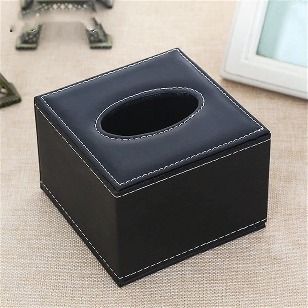 ZQ Square Tissue Box,Bedroom/Living Room/Study/Kitchen/Office/Bathroom/Hotel Leather Square Seats,Black