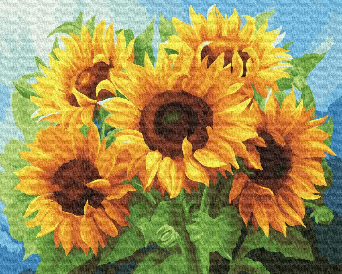 KOSE Paint by Numbers for Adults Beginner&Kids,DIY Oil Painting Kit on Canvas with Paintbrushes and Acrylic Pigment, Arts Craft for Home Wall Decor-Sunflower 16