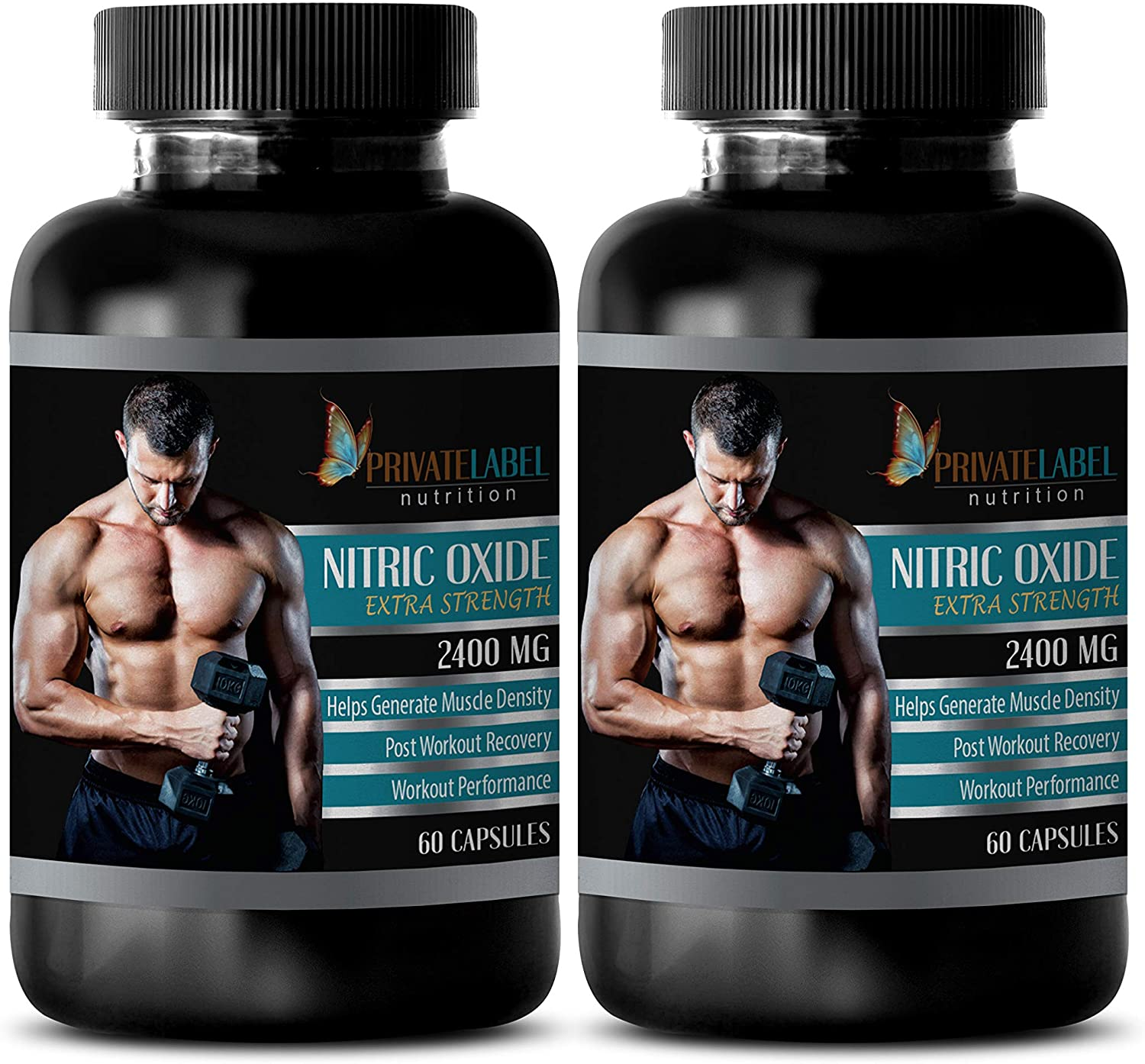 Increase Energy Levels - Nitric Oxide 2400 mg - Nitric Oxide Complex caps - 2 Bottles (120 Capsules)