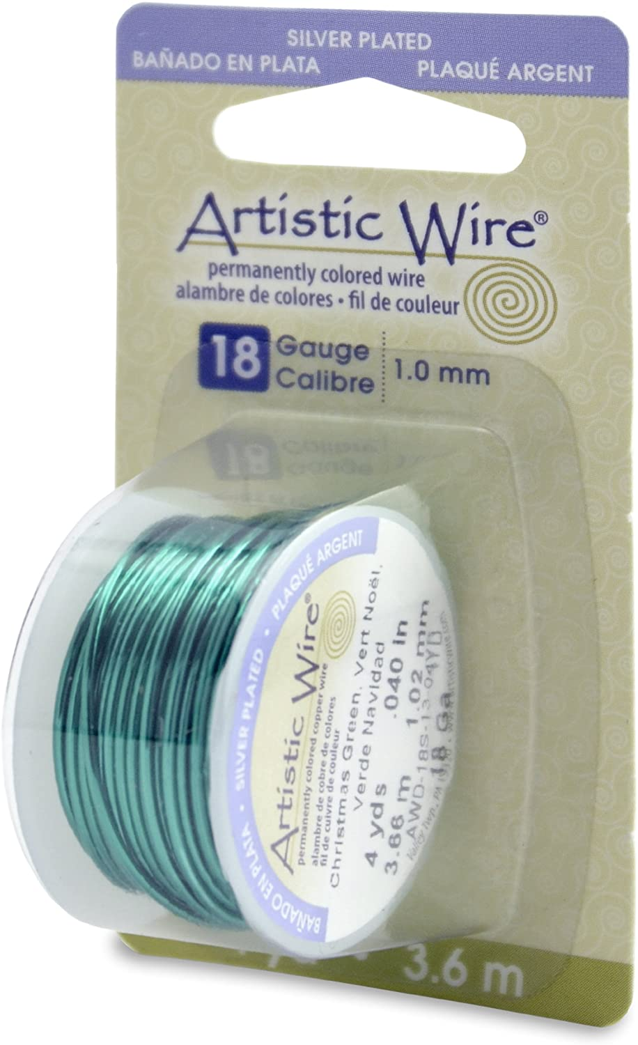 Beadalon Artistic, 18 Gauge, Silver Plated Christmas Color, 4 yd (3.7 m) Craft Wire, Xmas Green