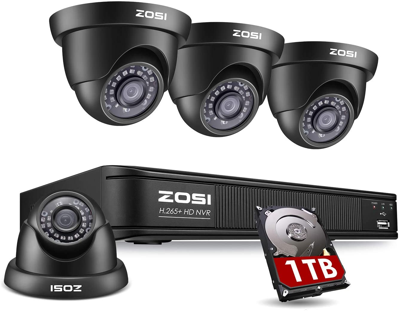 ZOSI 1080p H.265+ PoE Security Camera Systems Outdoor Indoor,5MP 8 Channel PoE NVR Recorder and (4) 1080p Surveillance CCTV Dome Cameras with Long Night Vision (1TB Hard Drive Built-in)