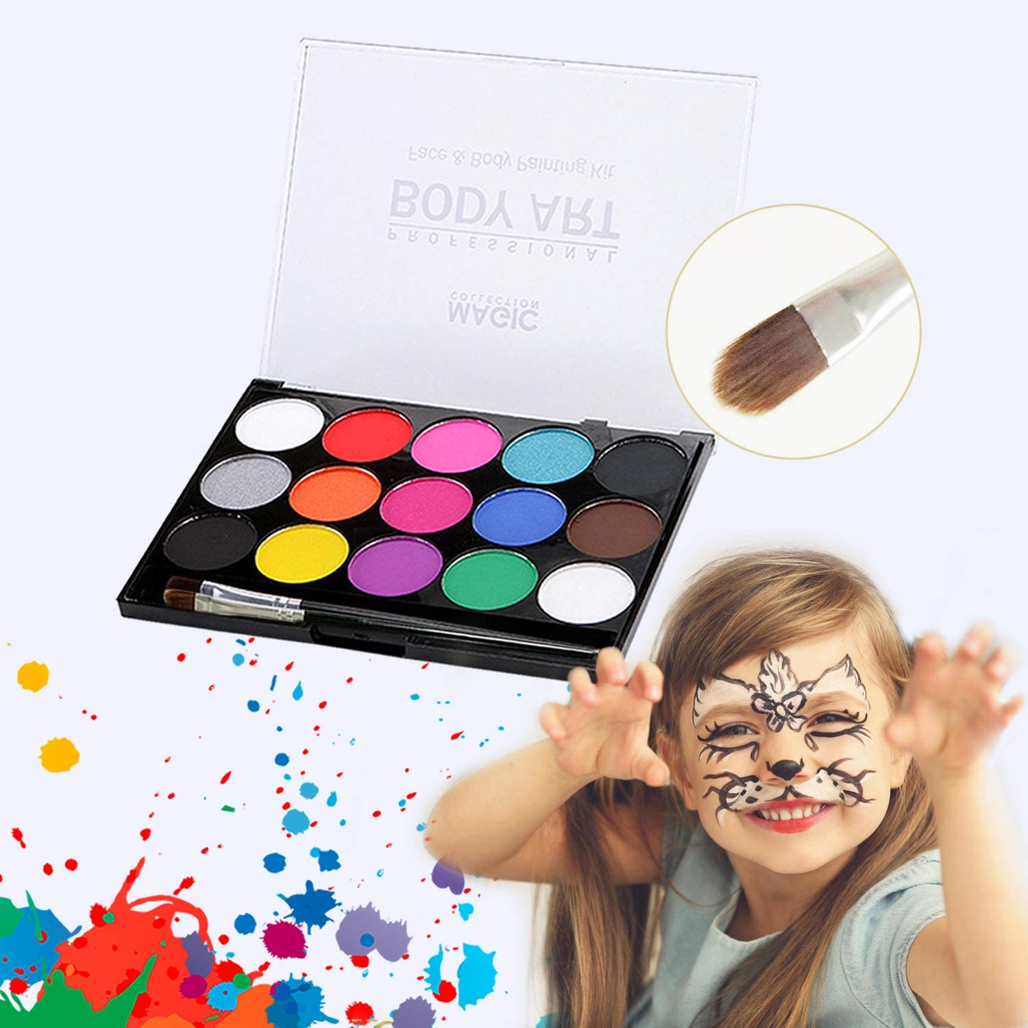 Face Paint Kit-Water Based Paints for Cosplay Makeup - Face Painting Kits for Kids and Adult - Professional Face Paint Set - Paint Makeup Set Face Body Non-Toxic Paint with 2 Brush
