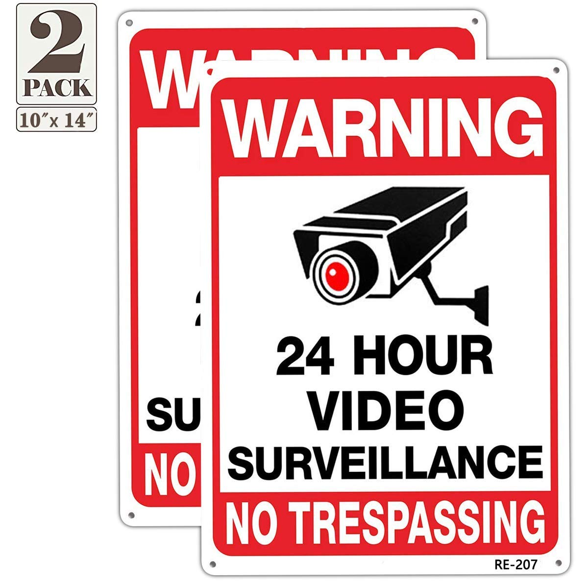 Warning No Trespassing Sign,Security Cameras in Use 24 Hour Video Surveillance Sign 10x14 Aluminum UV Ink Printed,Durable/Weatherproof Up to 7 Years Outdoor for House and Business (2-Pack)