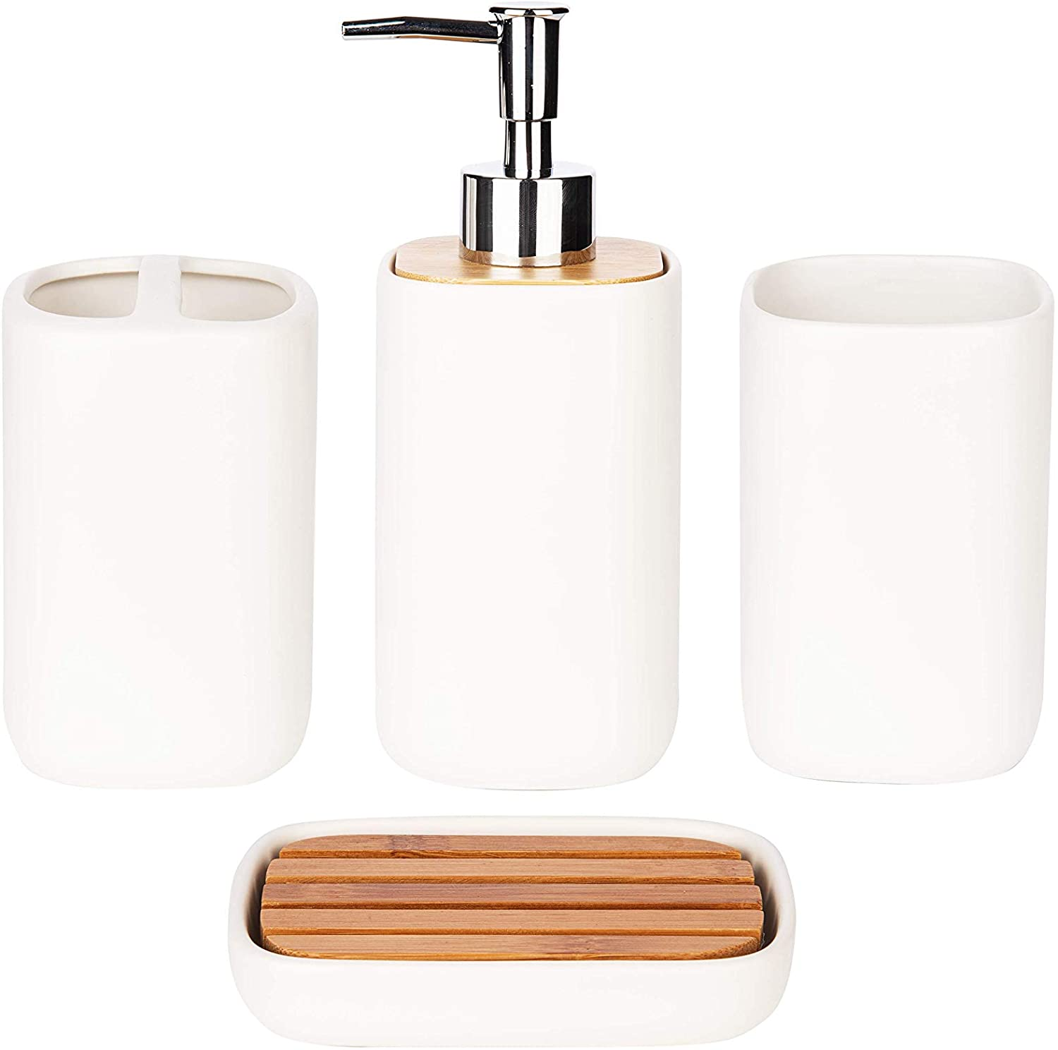 Wodlo - 4-Piece Ceramic with Bamboo Bathroom Accessories Set - Complete Bath Accessory Sets Includes Soap Dispenser, Toothbrush Holder, Tumbler, Soap Dish, (White)