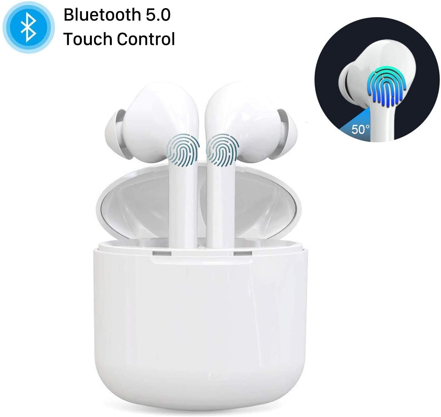 Wireless Earbuds, Bluetooth 5.0 True Wireless Earphones Smart Touch Control with Noise Cancellation, 30h Play time in-Ear Wireless Headphones Built-in Mic Sweatproof Headsets for Work/Running/Travel