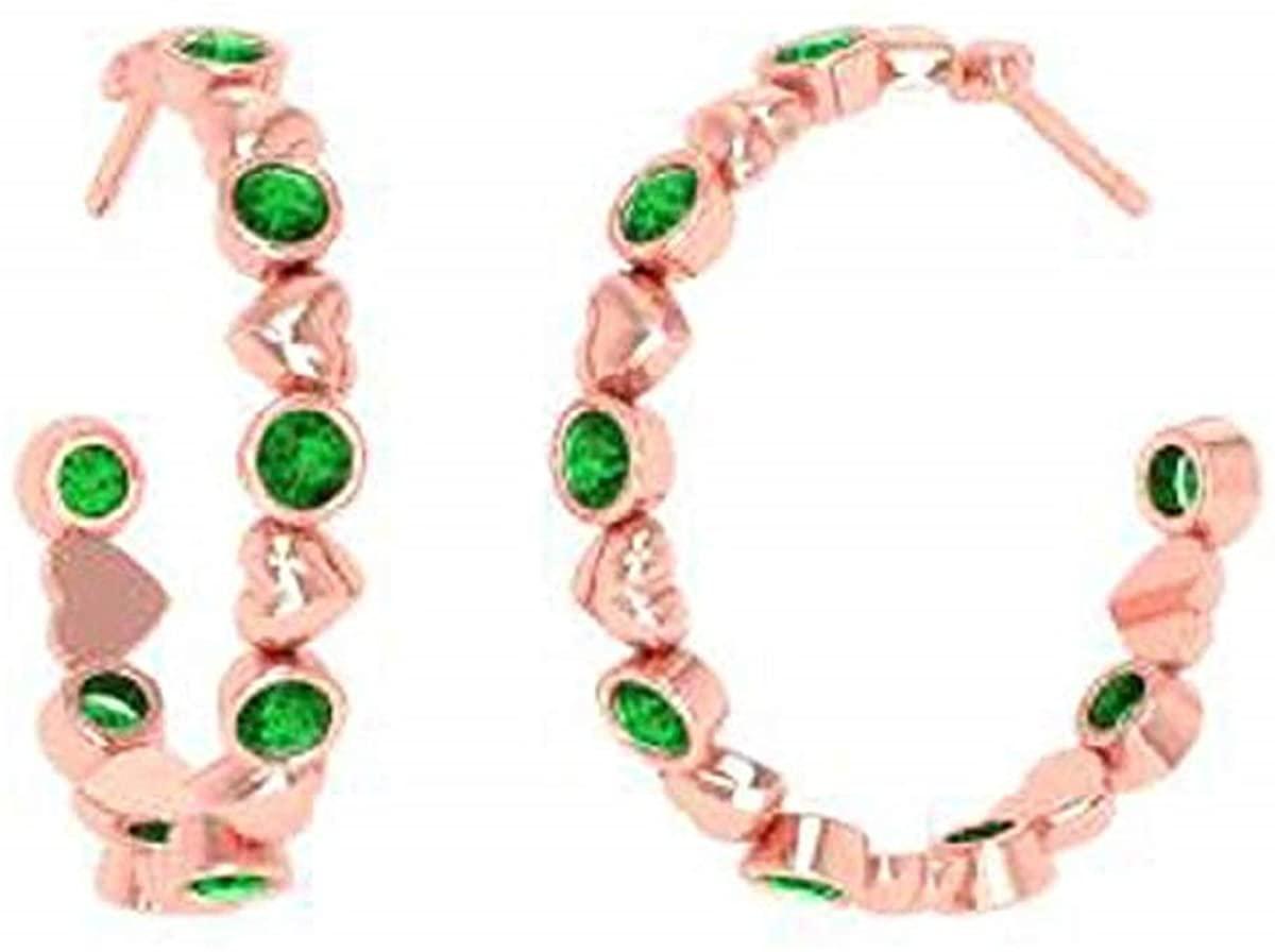 Cast & Crafts 0.60Ct Green Emerald Heart Hoops Earrings In Soild 14K Yellow Gold Plated For Women's & Girls