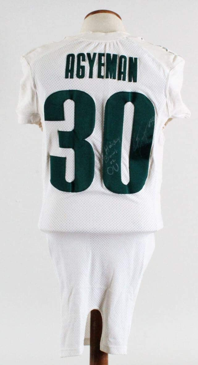 Kwame Agyeman Game-Used Oregon Ducks Jersey Signed Holiday Bowl - Autographed Game Used Items