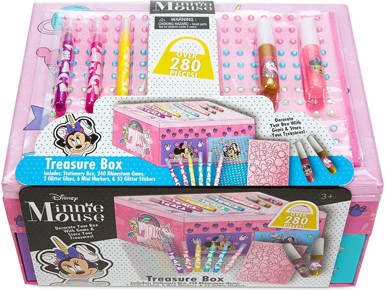 Minnie Mouses Unicorn Arts & Crafts Treasure Box - 1LB Keepsake Box Packed with Rhinestones, Stationery, Stickers & More