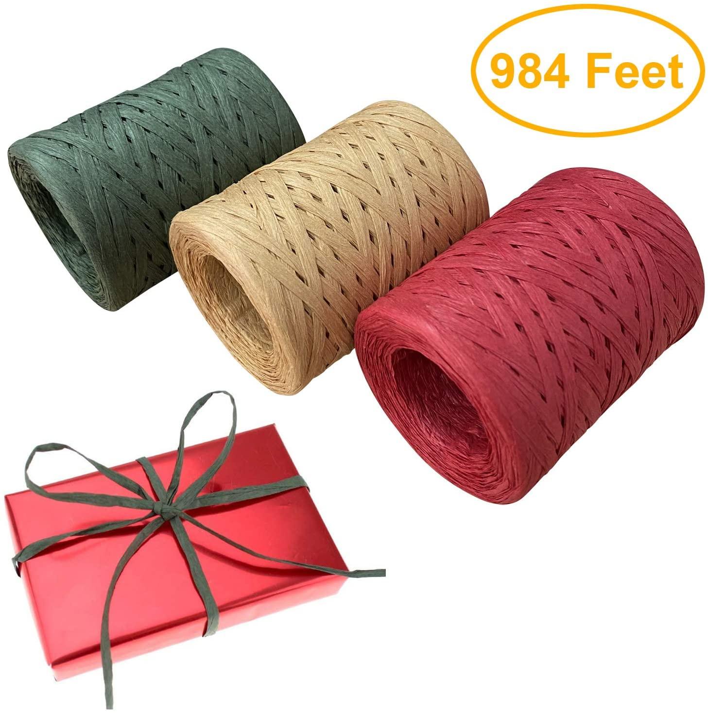 Vancool Raffia Ribbon String, 3 Rolls 984 Feet Red Green Kraft, Packing Paper Twine for Christmas, 328 Feet Each Roll