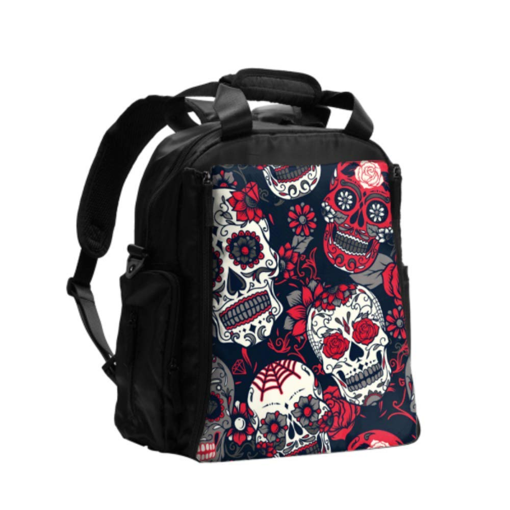 Customized Diaper Bag Day of The Dead Colorful Sugar Skull with Floral O Travel Diaper Bag Multifunction Travel Backpack with Diaper Changing Pad for Baby Care