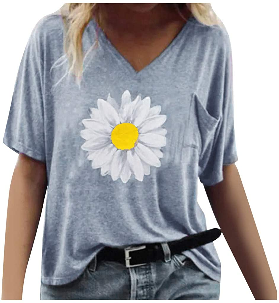 Dosoop Womens Short Sleeve with Pocket Daisy Print Printed V-Neck T-Shirt Top Summer Loose Casual Blouse Tee Pullover