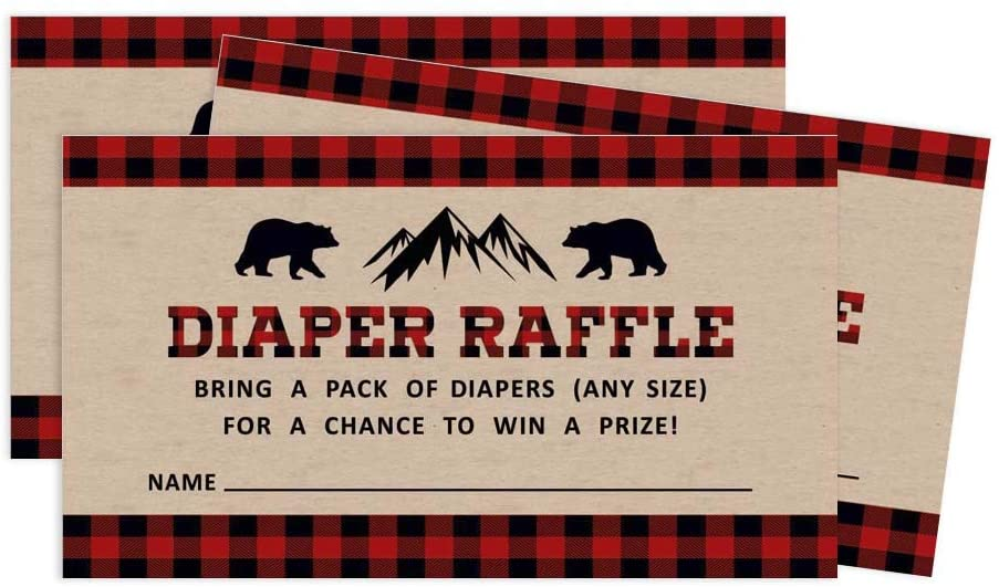 Inkdotpot 30Gender Neutral Baby ShowerRustic Diaper Raffle Ticket Lottery Insert Cards Supplies Games for Baby Shower Party Bring A Pack of Diapers to Win Favors Gifts and Prizes