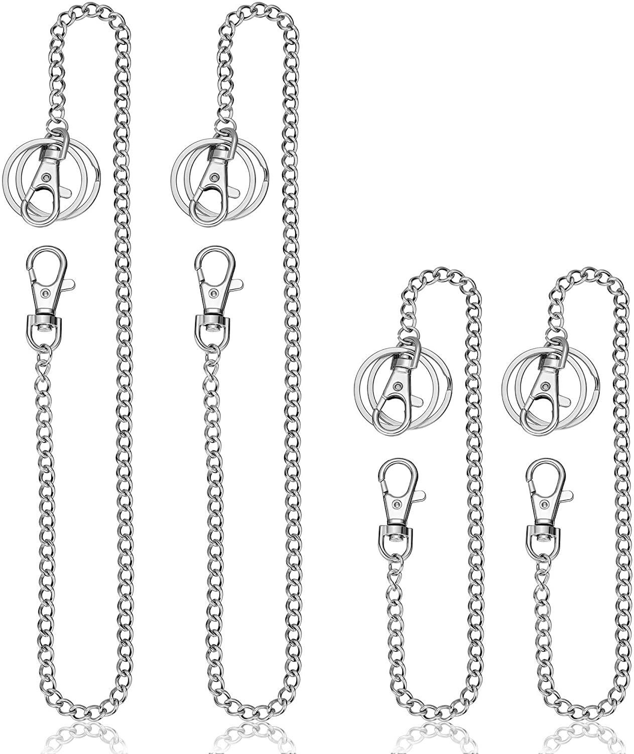 4 Pieces Wallet Chain Pocket Keychain Belt Chain with Lobster Clasp and Keyring for Keys Wallets Jeans Pants Supplies (Color 1, Size 1)