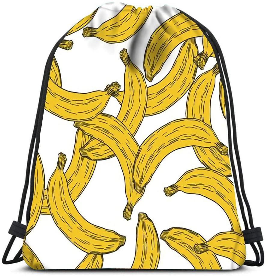 Drawstring Bags Yellow Banana Fruit Repetitive Beach Rucksack