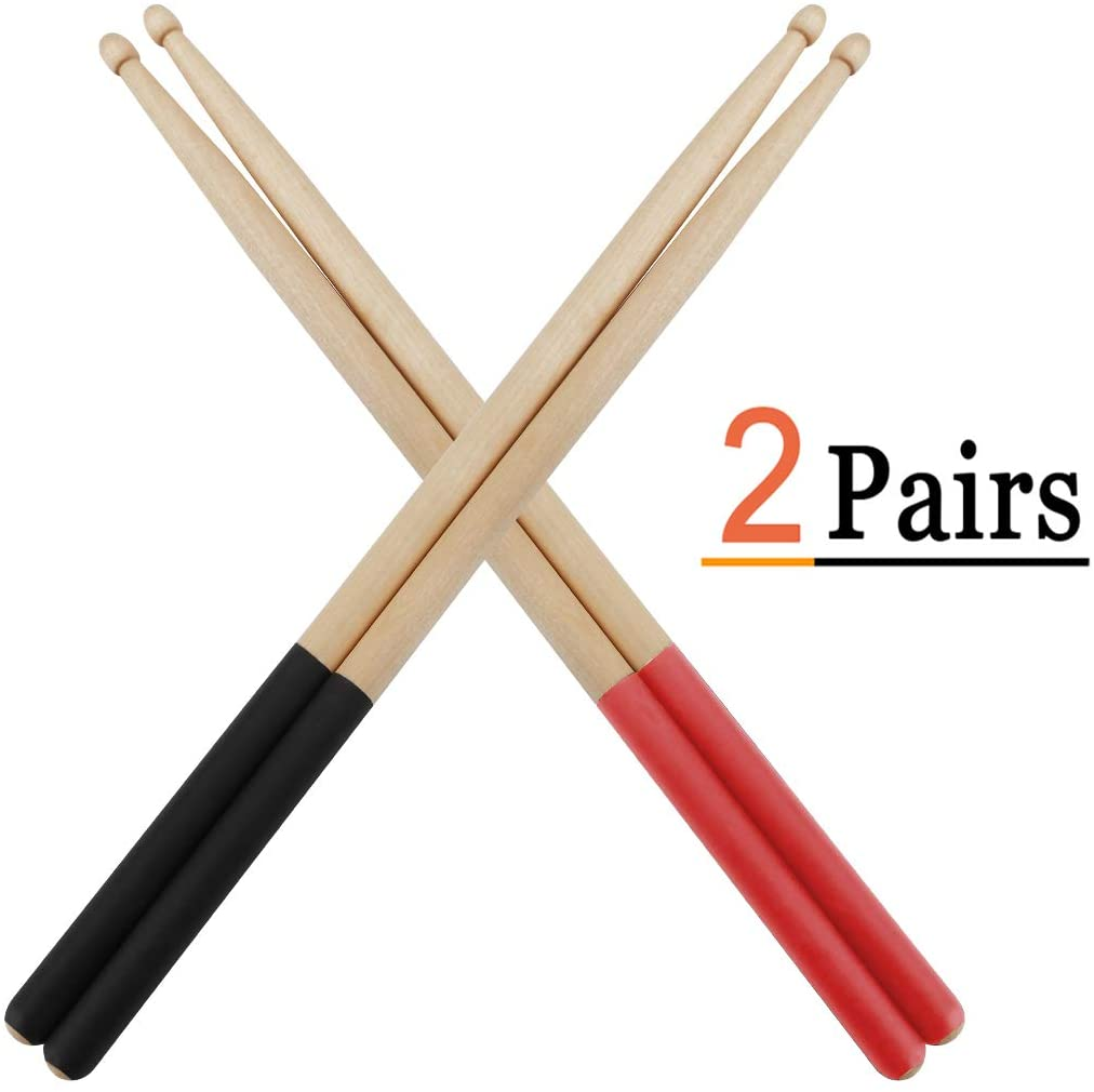 Vetoo Drum Sticks 5A, 2 Pair Non-Slip Drumsticks Classic Maple Wood Tip Drumstick for Students and Adults (Black + Red)