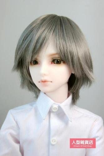BJD Doll Hair Wig 8-9 inch 20-22CM Grey 1/3 SD DZ DOD LUTS Short hair Asymmetry