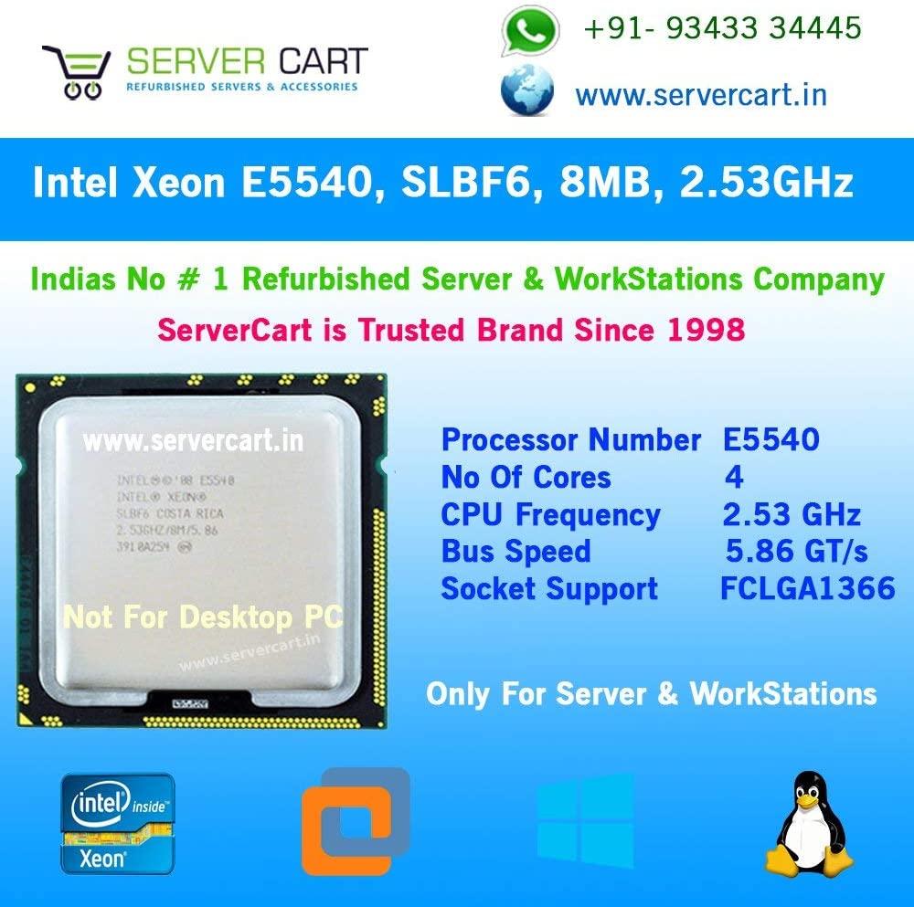 Intel Xeon E5540 4 Core Processor 2.53 GHz 5.86 GT/s 8MB Smart Cache Socket LGA-1366 TDP 80W SLBF6 (Certified Refurbished)